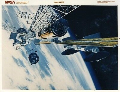 SPACE STATION / Orig NASA 8x10 Press Photo - Artist Concept of Space Station