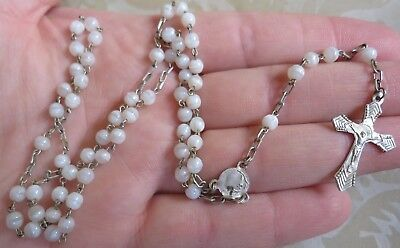 Lovely Vintage White Glass Rosary Beads Christianity Religion Prayer (6910)