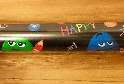 M&m's Brand School Days Wrapping Paper Gift Wrap Jessica Stewart Reversible New