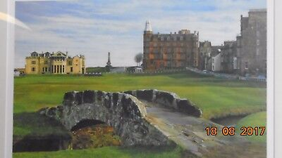 Signed framed golfing print SWILCAN BRIDGE  by RICHARD CHORLEY  Open edition