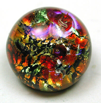 """Antique Glass Paperweight Button Colorful Design on Black Base - 7/16"""""""