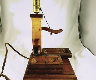 Vintage Hand Water Pump Lamp Rustic,  Wood and Metal, One of a Kind Tested