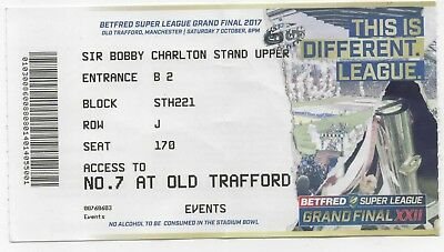 2017-Castleford-Cas V Leeds Rhinos-7/10/17-Grand Final-Super League Ticket