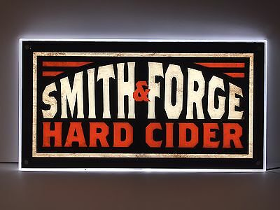 "Smith & Forge Hard Cider LED Sign Signature Logo NEW In BOX & F/S  23.5"" X 12.5"""