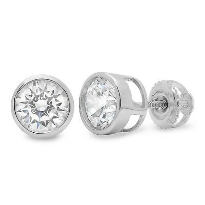 2.1ct Stud Solitaire Earrings Gift Round Cut Solid 14k White Gold Screw Back