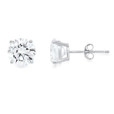 2.1ct Round Brilliant Cut Stud Everyday Earrings Solid 14k White Gold Push Back