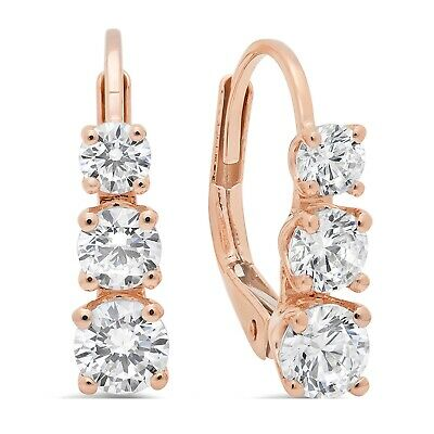 3.6ct Round Cut Leverback 3-Stone Past Present Future Earrings 14k Rose Gold