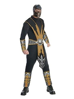mortal kombat mens scorpion halloween costume jumpsuit mask