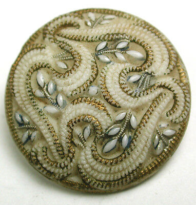 """Antique Victorian Glass Button White Embroidered Flower w/ Gold & Paint - 7/8"""""""