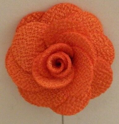 Silver Stemmed Lapel Pin - Orange