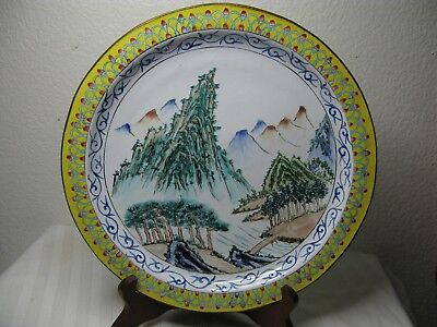 Antique Chinese Enamel mountain pine tree bridge rivulet decorated copper tray