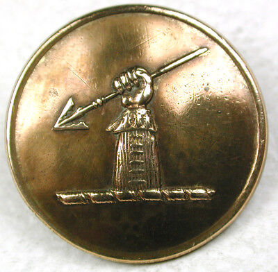 """Antique Brass Livery Button - Arm Holds Spear Image - 7/8"""""""
