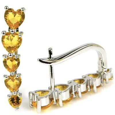 Stunning Golden Citrine SheCrown Wedding Silver Earrings