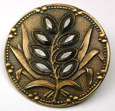 """Antique Brass Button Detailed Wheat in w/ Cut Steel Accents - 1"""""""