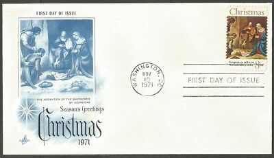 Us Fdc 1971 Christmas 8C Stamp Giorgione Art Craft First Day Of Issue Cover