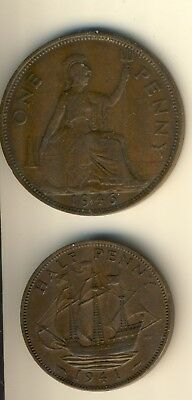 1941 & 1946 United Kingdom King George V 1/2 & 1 Penny Coins In Nice Condtion