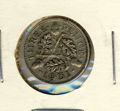 1931 United Kingdom King George Vi 3 Pence Silver(0.50) Coin In Nice Condtion