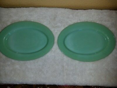 "2 Jadite Fire King Green Platters Plates 11"" X 8"" Oval"