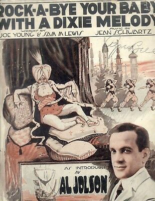 "AL JOLSON Sheet Music ROCK-A-BYE YOUR BABY WITH A DIXIE MELODY from ""Sinbad"""