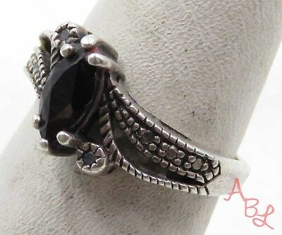 Sterling Silver Vintage 925 Marquise Cut Cocktail Onyx Ring Sz 6 (2.5g) - 575458