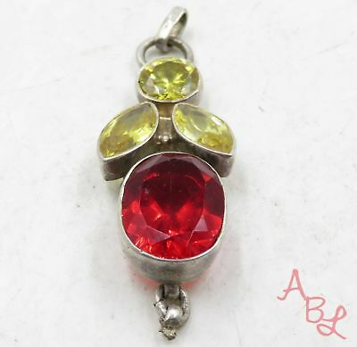 Sterling Silver Vintage 925 Dangle Yellow & Red Stone Pendant (8.4g) - 575051
