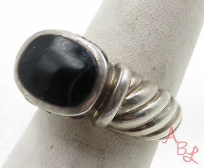 Sterling Silver Vintage 925 Solitaire Black Onyx Ring Sz 7 (6.6g) - 575464