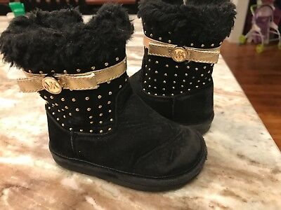 Michael Kors black toddler girl boots with gold accents-size 5
