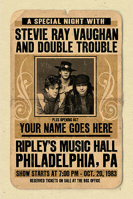your name on a  STEVIE RAY VAUGHAN concert poster! - personalized gift!!! SRV