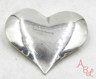Sterling Silver Vintage 925 Puffed Heart Pin Brooch (7.4g) - 575258