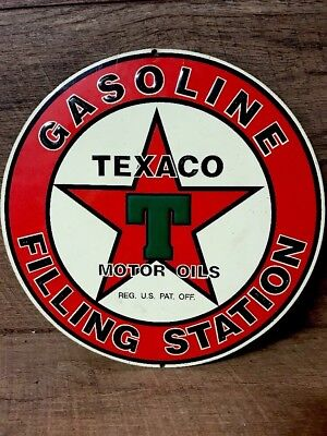 Texaco Metal Sign Round 11 Inch Embosssed