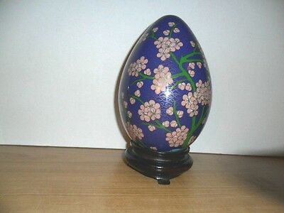 """ANTHENTIC 9"""" CLOISONNE ENAMEL EGG  BRASS PINK FLOWERS and BLUE Bird"""