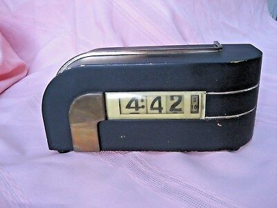 1930's Lawson Zephyr Streamline Moderne Art Deco Digital Plug-In Clock