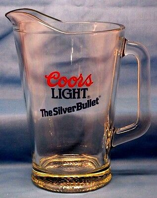 """COORS Light Beer """" The Silver Bullet """" Glass PITCHER"""