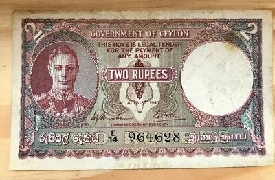 Ceylon 2 Rupee note - 1943 - VG condition (with stain)