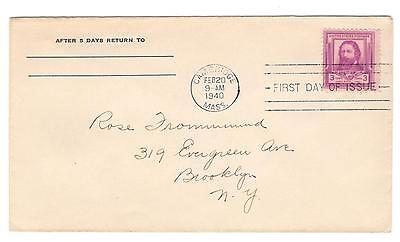 Usa Cover Vintage Fdc 1940 James Lowell Addressed Scott 866 3 Cent