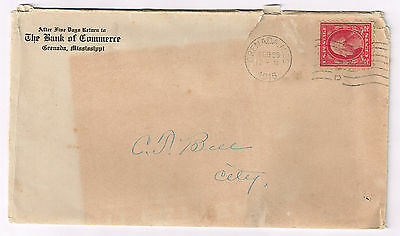 Usa Cover 1916 Bank Of Commerce, Grenada, Mississippi + Contents A Must See Lot