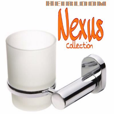 New HEIRLOOM NEXUS Collection Frosted Glass TUMBLER with Chrome Wall Mount