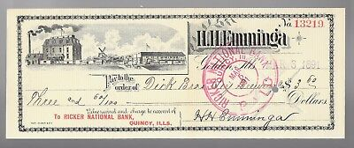 1891 Quincy, Ill Ricker National Bank to Dick Bro Qcy Brewing Co Cancelled Check