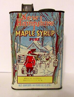 Vintage New Hampshire Pure Maple Syrup Tin 64 Fluid Ozs.