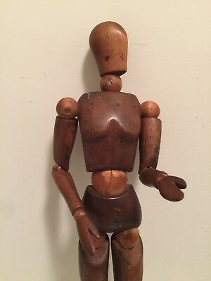 "Vintage Rare Wood Art Form Articulated Artist's Mannequin 16"" 1920's? From Italy"