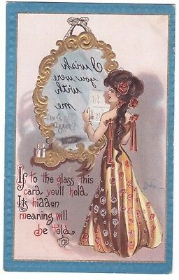 Antique 1910 Artist Signed Dwig Hold To Mirror Hidden Message Greeting Postcard