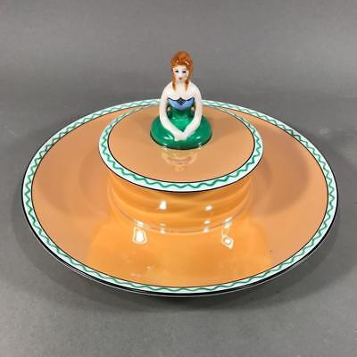 Vintage Art Deco NORITAKE Lusterware Figural Lady Covered Serving Dish, 1920's