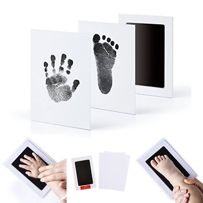 Newborn Baby Footprint Handprint Photo Frame Ink Pad Kit Non-Toxic Touch Clean