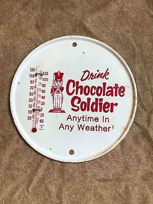 Old Drink Chocolate Soldier Soda Any Weather Advertising Thermometer  Sign