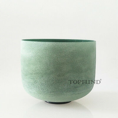 """Emerald Fusion F Heart Chakra Frosted Quartz Crystal Singing Bowl 8"""" for Xmas"""