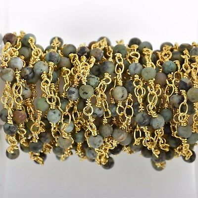 13ft Matte Green AFRICAN TURQUOISE Gemstone Rosary Chain gold 4mm round fch0763b