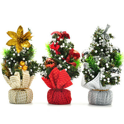 Christmas Mini Tree Holiday Festival Gift Party Office Ornament Desk Table Decor