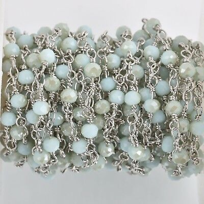 3ft Matte SILVER GREY Crystal Rondelle Rosary Chain gunmetal 8mm beads fch0662a
