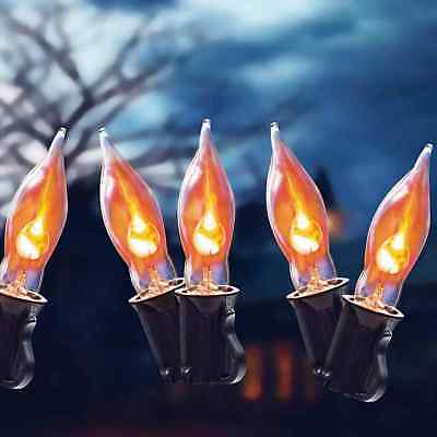 9 Ft Clear Flickering Halloween String Lights With Bulbs