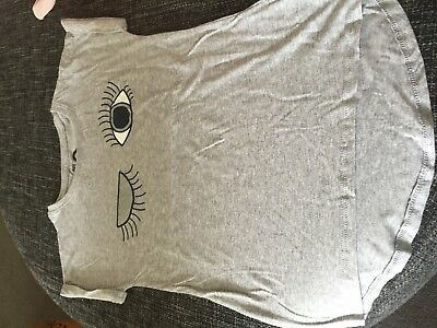 Cotton On Cute Grey & Silver Winking Tee Size 8 EXCELLENT CONDITION!
